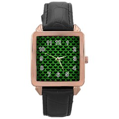 Scales3 Black Marble & Green Brushed Metal Rose Gold Leather Watch  by trendistuff