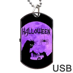 Halloween Dog Tag Usb Flash (one Side) by Valentinaart