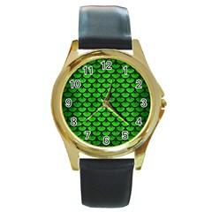 Scales3 Black Marble & Green Brushed Metal (r) Round Gold Metal Watch by trendistuff