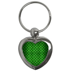Scales3 Black Marble & Green Brushed Metal (r) Key Chains (heart)  by trendistuff