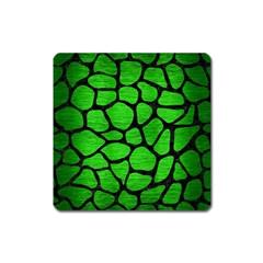 Skin1 Black Marble & Green Brushed Metal Square Magnet by trendistuff