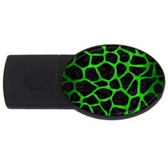 Skin1 Black Marble & Green Brushed Metal (r) Usb Flash Drive Oval (4 Gb) by trendistuff