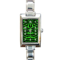 Skin2 Black Marble & Green Brushed Metal Rectangle Italian Charm Watch by trendistuff