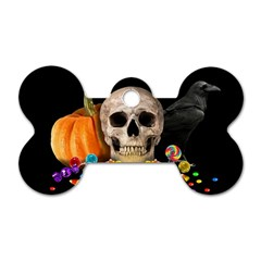 Halloween Candy Keeper Dog Tag Bone (two Sides) by Valentinaart