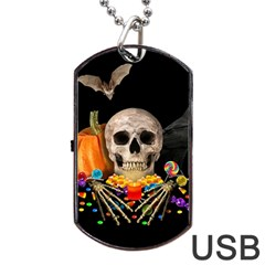 Halloween Candy Keeper Dog Tag Usb Flash (two Sides) by Valentinaart