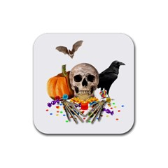 Halloween Candy Keeper Rubber Coaster (square)  by Valentinaart