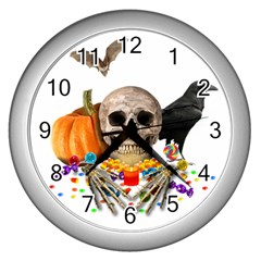 Halloween Candy Keeper Wall Clocks (silver)  by Valentinaart