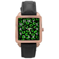 Skin5 Black Marble & Green Brushed Metal (r) Rose Gold Leather Watch