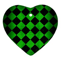 Square2 Black Marble & Green Brushed Metal Ornament (heart)