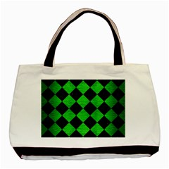 Square2 Black Marble & Green Brushed Metal Basic Tote Bag by trendistuff