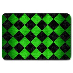 Square2 Black Marble & Green Brushed Metal Large Doormat  by trendistuff