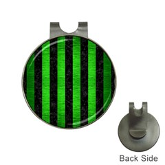 Stripes1 Black Marble & Green Brushed Metal Hat Clips With Golf Markers by trendistuff