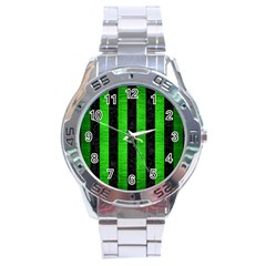 Stripes1 Black Marble & Green Brushed Metal Stainless Steel Analogue Watch by trendistuff