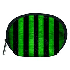 Stripes1 Black Marble & Green Brushed Metal Accessory Pouches (medium)  by trendistuff