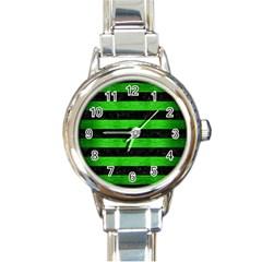 Stripes2 Black Marble & Green Brushed Metal Round Italian Charm Watch by trendistuff