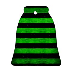 Stripes2 Black Marble & Green Brushed Metal Bell Ornament (two Sides) by trendistuff