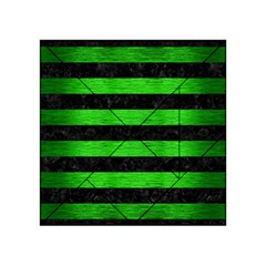 Stripes2 Black Marble & Green Brushed Metal Acrylic Tangram Puzzle (4  X 4 ) by trendistuff