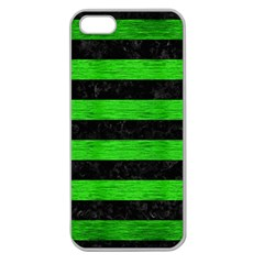 Stripes2 Black Marble & Green Brushed Metal Apple Seamless Iphone 5 Case (clear) by trendistuff