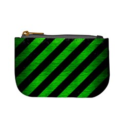 Stripes3 Black Marble & Green Brushed Metal Mini Coin Purses