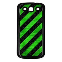 Stripes3 Black Marble & Green Brushed Metal Samsung Galaxy S3 Back Case (black)