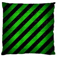 Stripes3 Black Marble & Green Brushed Metal Standard Flano Cushion Case (one Side) by trendistuff