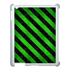 Stripes3 Black Marble & Green Brushed Metal (r) Apple Ipad 3/4 Case (white) by trendistuff