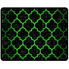Tile1 Black Marble & Green Brushed Metal Fleece Blanket (medium)  by trendistuff