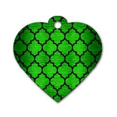 Tile1 Black Marble & Green Brushed Metal (r) Dog Tag Heart (one Side) by trendistuff