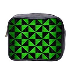 Triangle1 Black Marble & Green Brushed Metal Mini Toiletries Bag 2 Side
