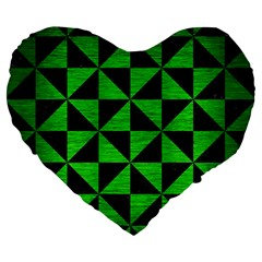Triangle1 Black Marble & Green Brushed Metal Large 19  Premium Flano Heart Shape Cushions by trendistuff