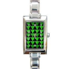Triangle2 Black Marble & Green Brushed Metal Rectangle Italian Charm Watch