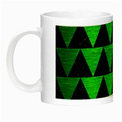 Triangle2 Black Marble & Green Brushed Metal Night Luminous Mugs by trendistuff