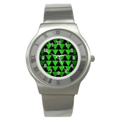 Triangle2 Black Marble & Green Brushed Metal Stainless Steel Watch by trendistuff