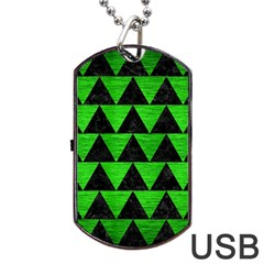 Triangle2 Black Marble & Green Brushed Metal Dog Tag Usb Flash (one Side) by trendistuff