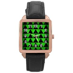 Triangle2 Black Marble & Green Brushed Metal Rose Gold Leather Watch  by trendistuff