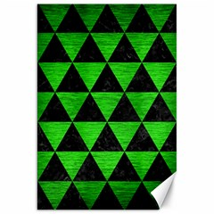 Triangle3 Black Marble & Green Brushed Metal Canvas 20  X 30   by trendistuff