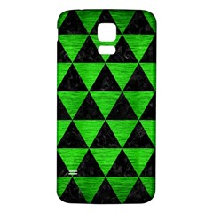 Triangle3 Black Marble & Green Brushed Metal Samsung Galaxy S5 Back Case (white) by trendistuff