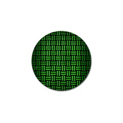 Woven1 Black Marble & Green Brushed Metal Golf Ball Marker by trendistuff