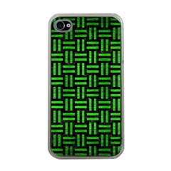 Woven1 Black Marble & Green Brushed Metal Apple Iphone 4 Case (clear) by trendistuff