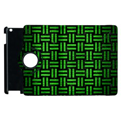 Woven1 Black Marble & Green Brushed Metal Apple Ipad 2 Flip 360 Case by trendistuff