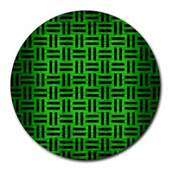 Woven1 Black Marble & Green Brushed Metal (r) Round Mousepads by trendistuff
