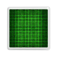 Woven1 Black Marble & Green Brushed Metal (r) Memory Card Reader (square)  by trendistuff