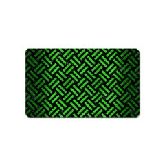 Woven2 Black Marble & Green Brushed Metal Magnet (name Card) by trendistuff