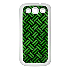 Woven2 Black Marble & Green Brushed Metal Samsung Galaxy S3 Back Case (white)