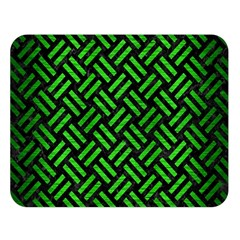 Woven2 Black Marble & Green Brushed Metal Double Sided Flano Blanket (large)  by trendistuff