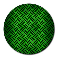 Woven2 Black Marble & Green Brushed Metal (r) Round Mousepads by trendistuff