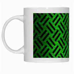 Woven2 Black Marble & Green Brushed Metal (r) White Mugs by trendistuff
