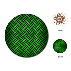 Woven2 Black Marble & Green Brushed Metal (r) Playing Cards (round)  by trendistuff