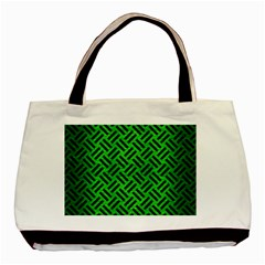 Woven2 Black Marble & Green Brushed Metal (r) Basic Tote Bag (two Sides) by trendistuff