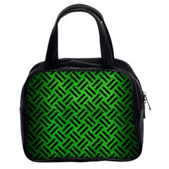 Woven2 Black Marble & Green Brushed Metal (r) Classic Handbags (2 Sides) by trendistuff